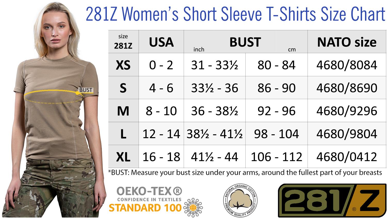 Розмірна сітка жіночих футболок